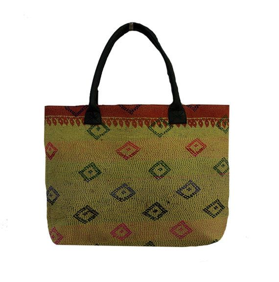Sari Kantha Tote Bag Vintage Kantha Shopping Bag by MyCraftPalace