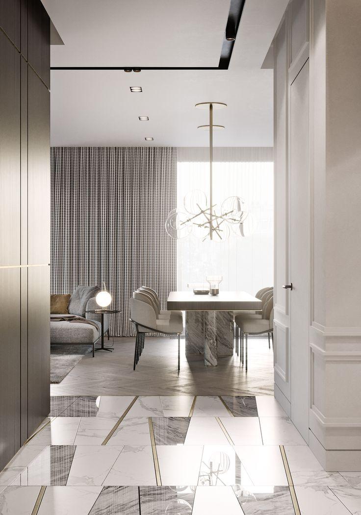 I added this pic because I like the floors.  Herringbone in living.... marble look too.    TOL'KO interiors on Behance