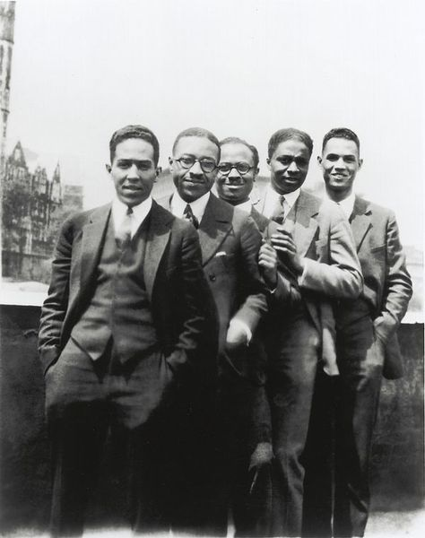 Langston Hughes, Charles S. Johnson, E. Franklin Frazier, Rudolph Fisher and Hubert Delany overlooking St. Nicholas Avenue in Harlem in the 1920s
