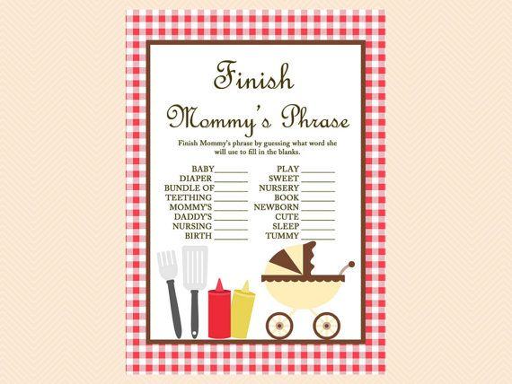 Finish Mommy's Phrase, Finish the Phrase Game, BBQ Baby shower, BBQ Baby Shower Games Printable, picnic Baby Shower TLC23
