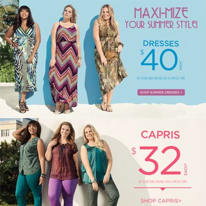 Fun in the Sun! (till July 7)  Dresses now $40 each. (selected styles)  Capris now $32 each.