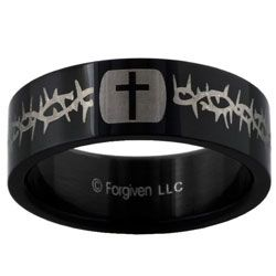 Thorns and Cross Black Band Ring
