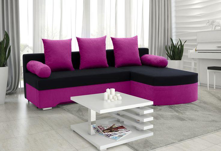 Pink corner sofa  http://www.mirjan24.pl/narozniki-pokojowe/5315-naroznik-oski.html#/272-pufa-bez_pufy/2308-lawa-brak/2479-041_kolorystyka-alova_76_alova_04/43-strona_naroznika-prawa  #cornersofa #salon #livingroom