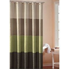 Sage Green Tan Brown Earth Tones Striped CRINKLE FABRIC SHOWER .