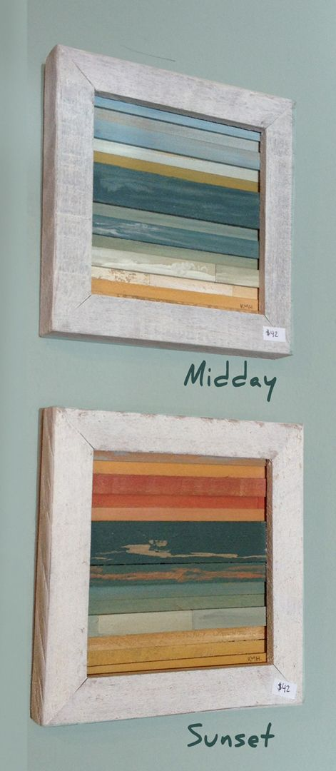 """8"""" x 8"""" Land-Sea-Sky Original Artwork.  Each piece features reclaimed and salvaged wood pieces assembled using environmentally friendly eco-glue. We also use non toxic, organic milk paint with pure tung oil to achieve the changing colors of an ocean horizon in different color schemes of Midday,..."""