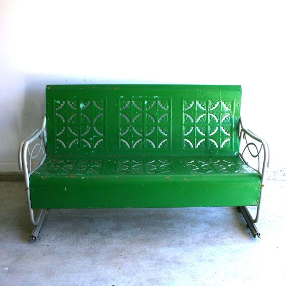 Spring Green Vintage Glider. Metal Bench. Industrial Home Decor. Retro Patio Funiture. Cottage. Couch Chair. Kelly Grass Green. Geometric.