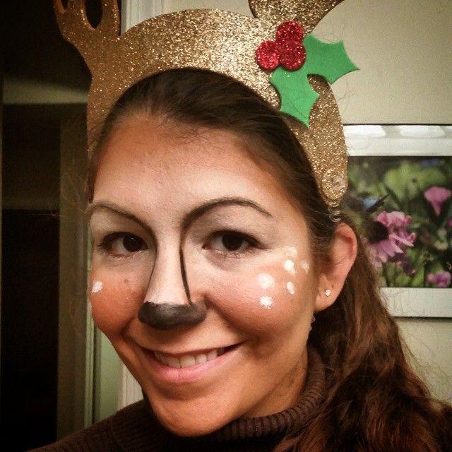 Cat in the hat face makeup my sven the reindeer makeup halloween 2014