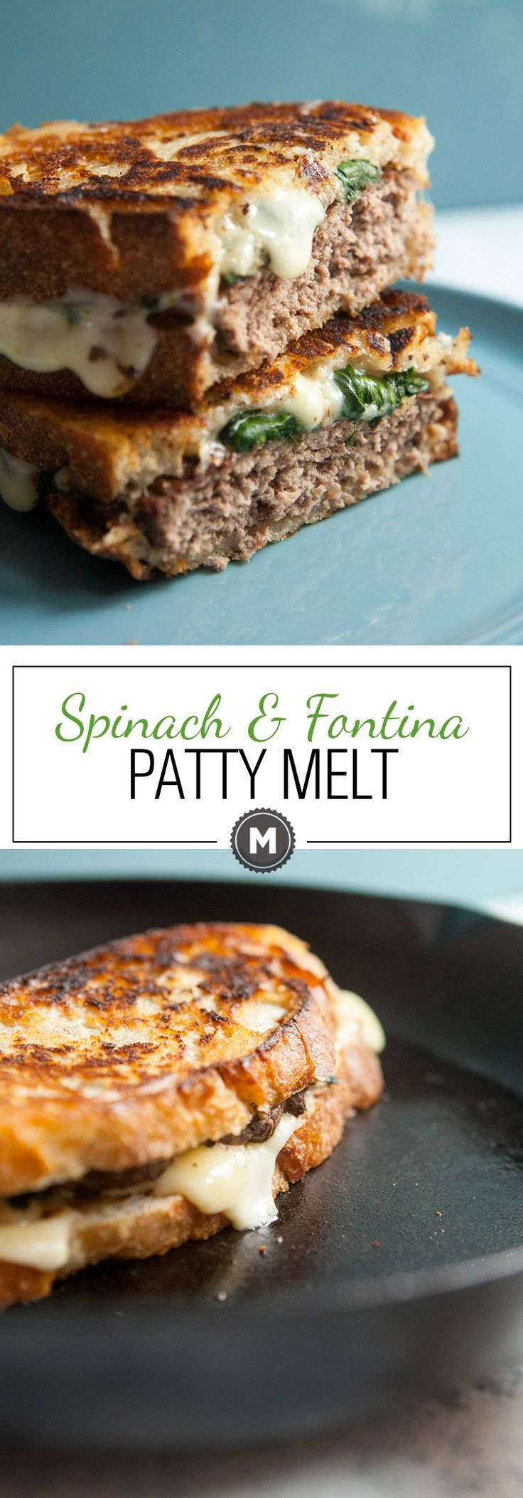 Spinach Fontina Patty Melt: A fun twist on the classic made with fresh sauteed spinach and gooey fontina cheese. What a sandwich! | macheesmo.com