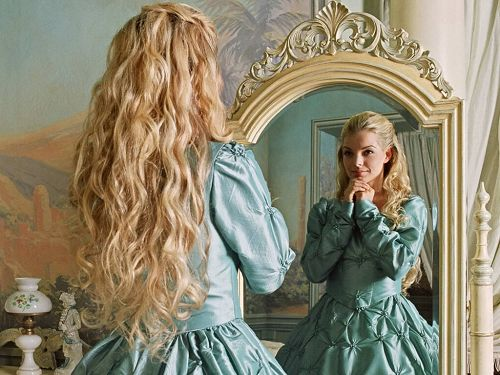 Cristi in her coronation gown. Make it a little greener. Like pale lime green.