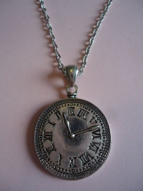 Silver Clock Necklace by TallulahStack on Etsy, $10.00