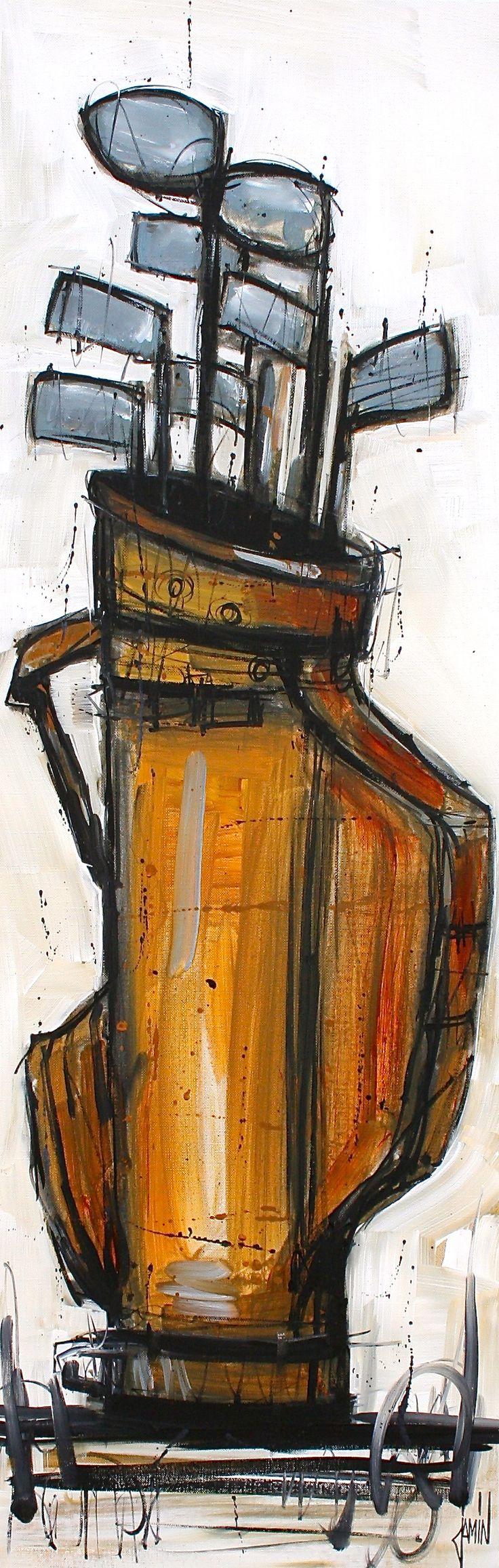 """""""Au golf"""" - acrylique sur toile - 120x40cm - année 2013"""