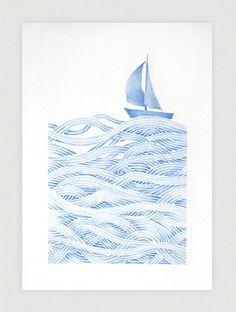 Sailboat illustration blue print of watercolor painting by VApinx, $19.00