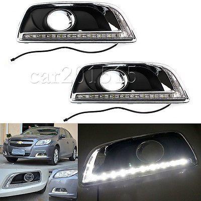 Pair LED Daytime Running Light DRL Fog Lamp For Chevy Chevrolet Malibu 2012-2014