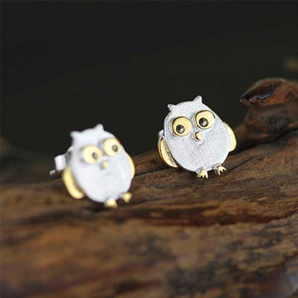Little Owl Silver Earrings @ Fig & Wattle #jewellery #jewelry #creatures #bee #honeybee #lovebird #butterfly #owl #hoot #bird #parrot #cobra #cat #dragonfly #silver #handmade #sterlingsilver #figandwattle