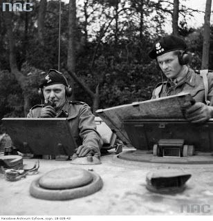 WW2 (L) General Stanislaw Maczek communicating on radio