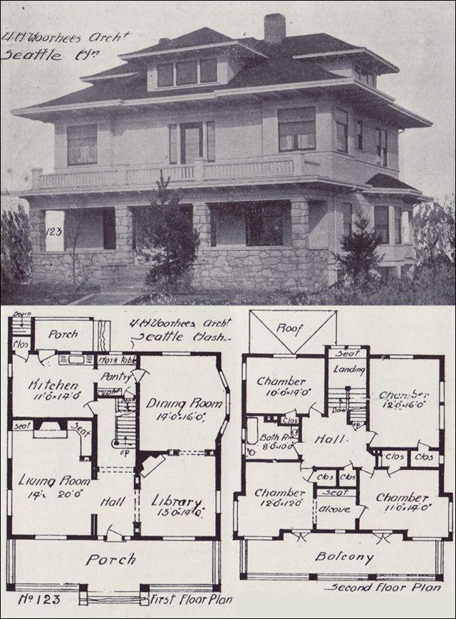 1908 Western Home Builder - Prairie Box House Plan - Seattle Vintage Homes - Design No. 123 - V.W. Voorhees