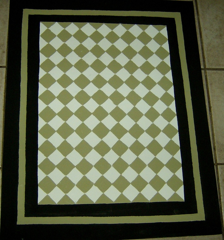 Harlequin Green Kitchen Rug: Sage Green and Black FLOORCLOTH / French Country / Painted Canvas Rug / Diamond Pattern / 4'x6'. $125.00, via Etsy.