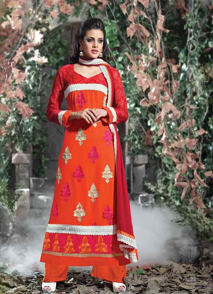 Buy Fabulous Orange Colored Unstitched Designer Salwar Kameez Get 30% Off on Designer Salwar Suits From Leemboodi Fashion with Free Shipping in INDIA Use Coupon Code: RAKHI15 to Get 15% off on Every Product of Leemboodi Fashion Now Available on Cash On Delivery