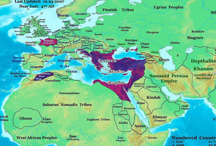 Europe in 477 CE. Highlighted areas are Roman lands that survived the deposition of Romulus Augustulus #Rome #RomanEmpire #Mediterranean