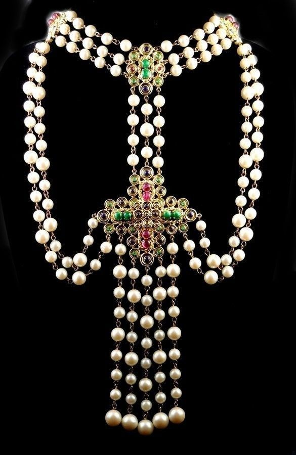 CHRISTIAN DIOR by Henkel & Grosse 1970 Faux Pearls Gripoix Glass Bib Necklace  | eBay £1,092.40 (BIN) USA