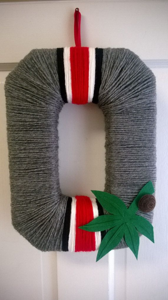 OSU Scarlet and Grey Helmet Block O Yarn by just4theloveofit, $30.00. This link is spam but the wreath is so cute!