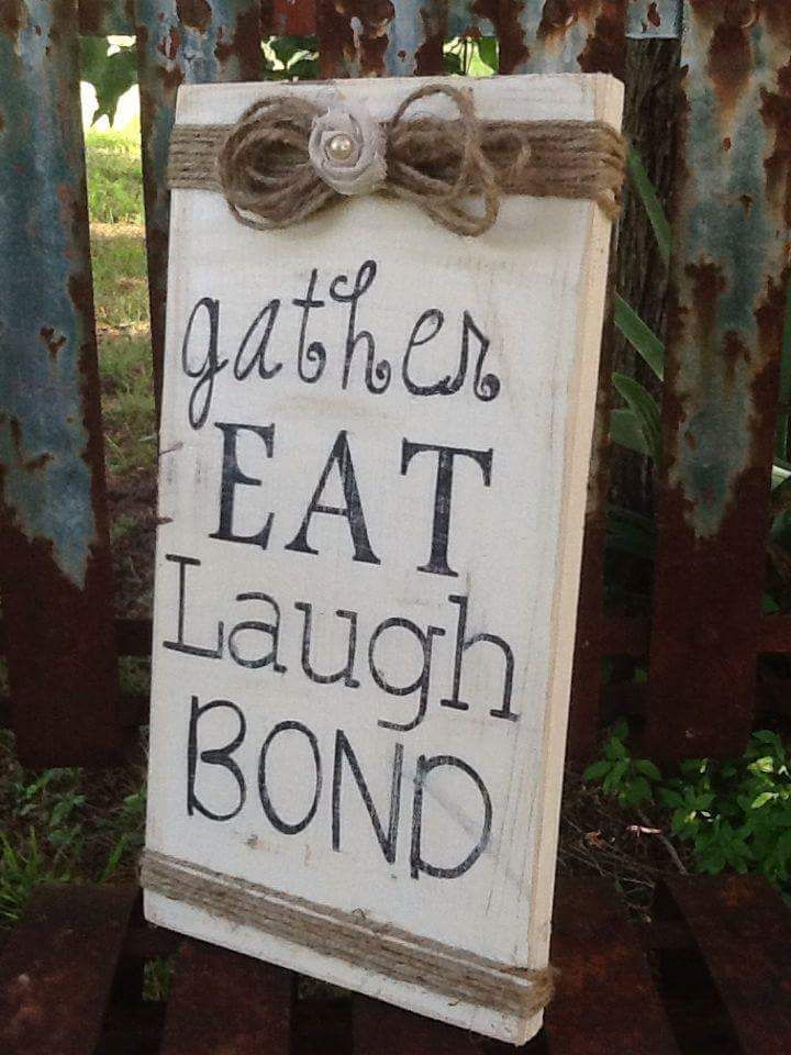 Gather eat laugh bond wooden sign dinning room decor rustic and country chic