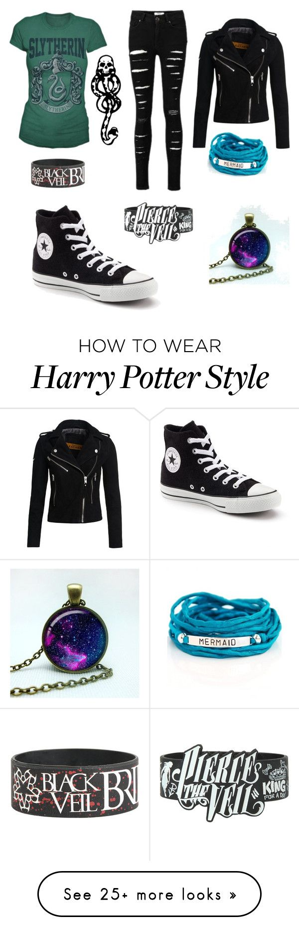 """Slytherin look"" by thatgirloverthere123 on Polyvore featuring mark., Superdry, Converse and Blooming Lotus Jewelry"