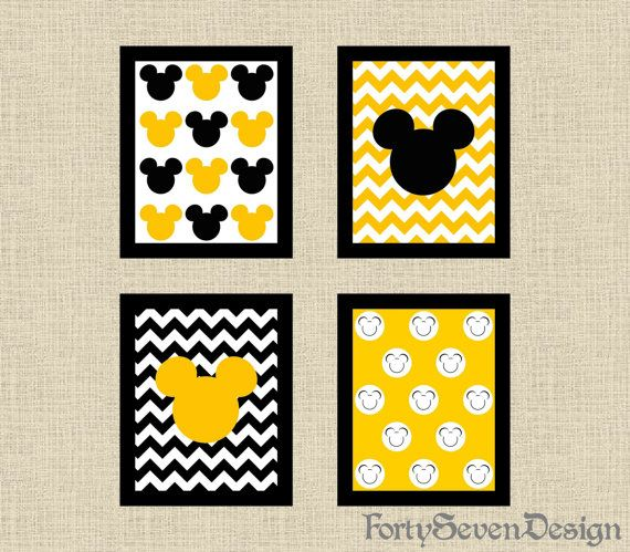 Set of 4 Mickey Mouse Black White & Yellow Chevron Printable Wall Art by FortySevenDesign, $10.00