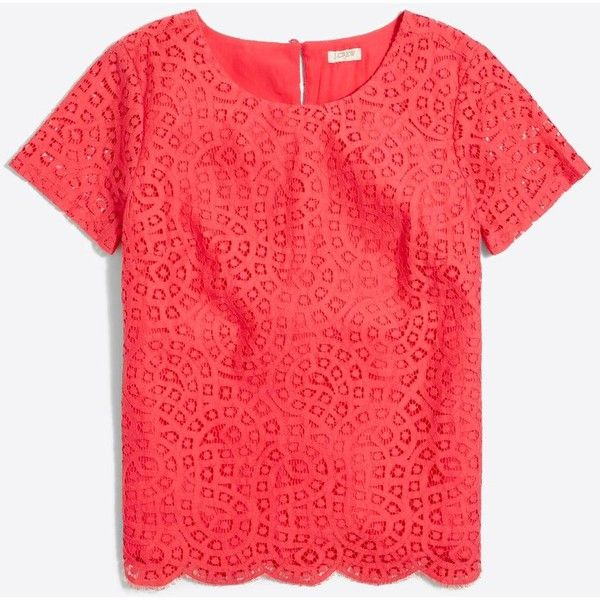 J.Crew Lace T-shirt ($28) ❤ liked on Polyvore featuring tops, t-shirts, lace keyhole top, j crew tops, lace t shirt, j crew tees and keyhole top