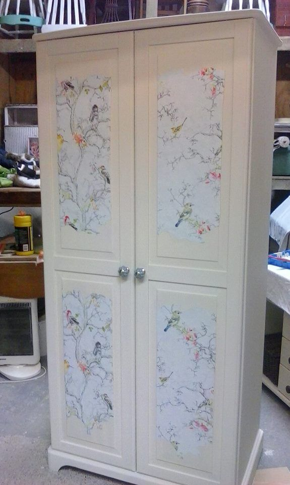 beautiful wardrobe with papered front