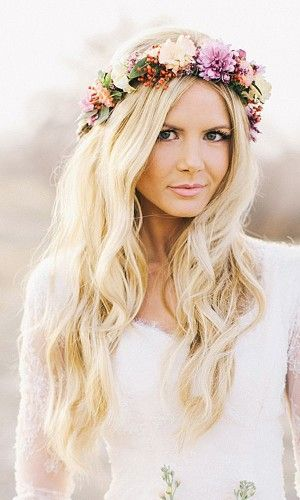 Let your locks down with a gorgeous, colorful floral crown! #wedding #floralcrown #floral