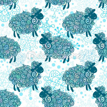 Padrão de ovelhas de ano novo — Ilustração de Stock #55311071