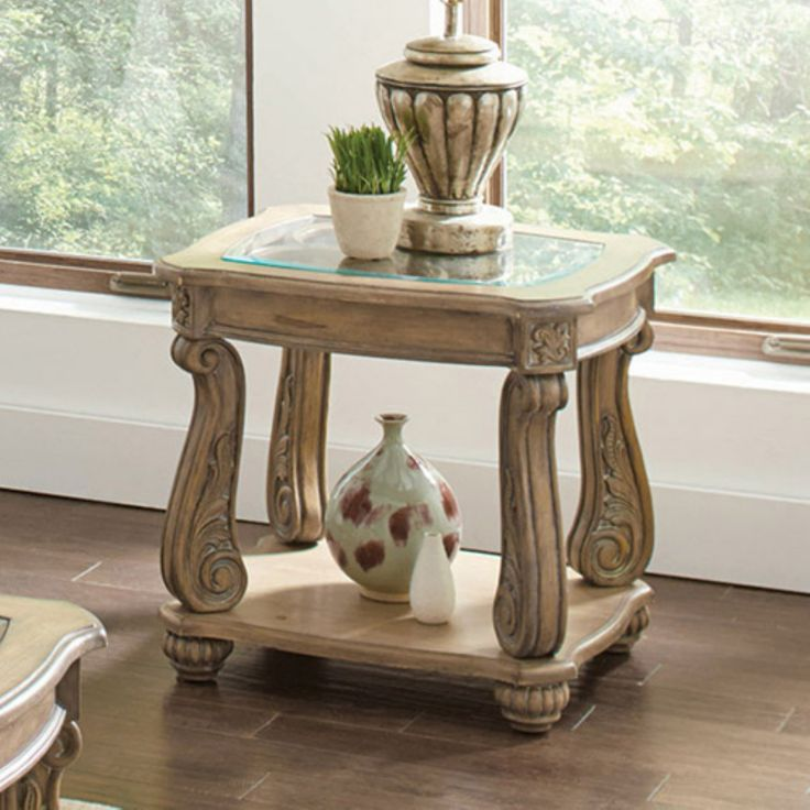 Coaster Furniture Glass Top End Table - Antique Linen - 720597
