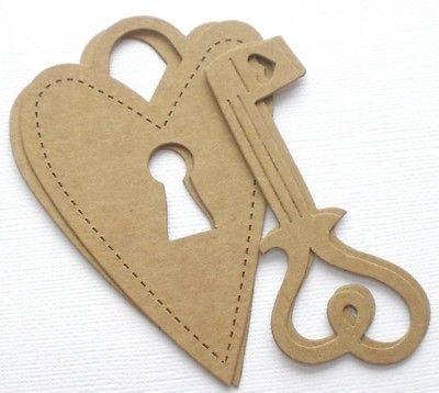 {4 Pc} HEART SCROLL LOCK & KEY - Bare Keyhole Chipboard Die Cuts