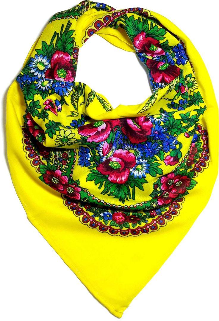Traditional Polish Ukrainian Folk Cotton Head Scarf - Yellow