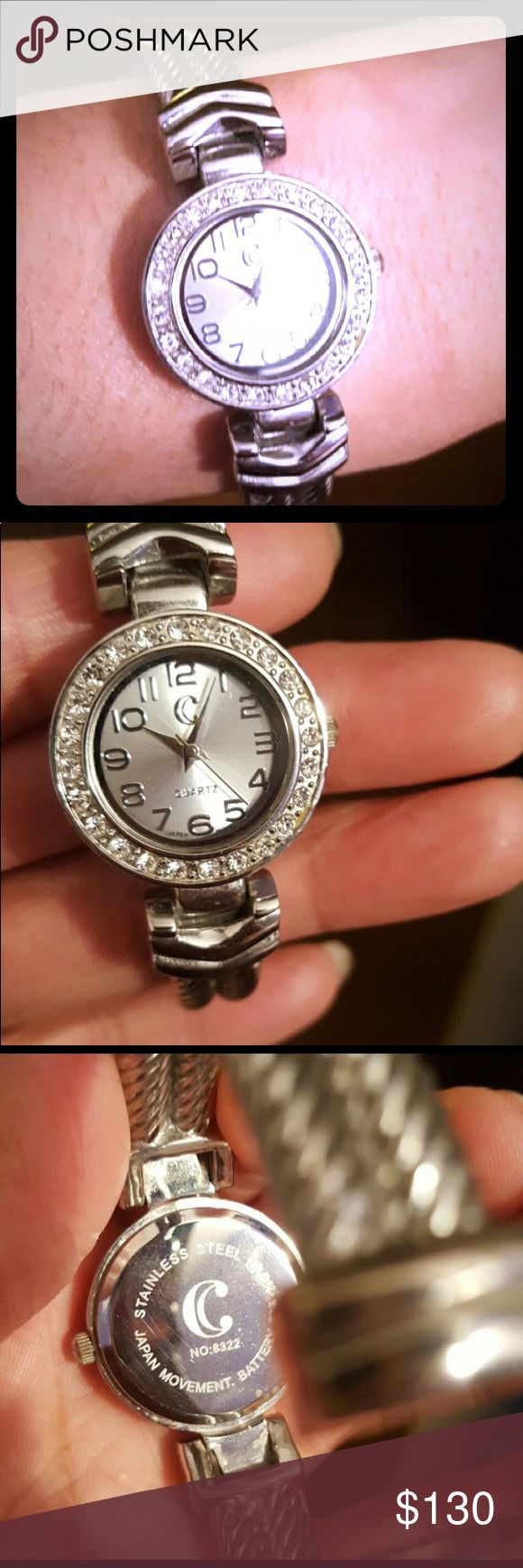 Japan Made Quartz Demand watch bracelet EUC LIKE NEW goes perfect with a tennis bracelet or a chain bracelet sterling silver. And yes battery works 😘 tv 200 Jewelry