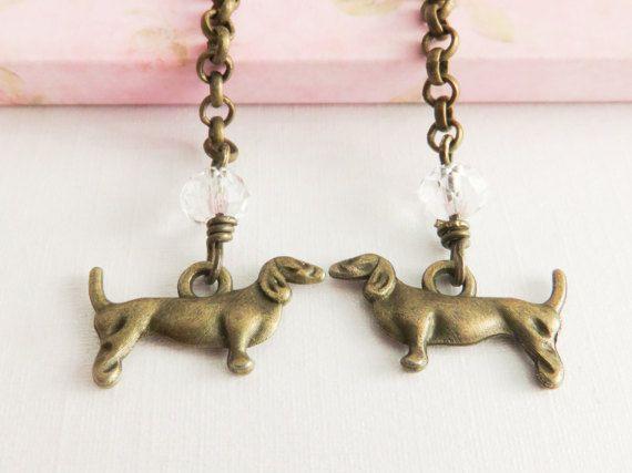 Dachshund earrings long dangle earrings dog by romanticcrafts