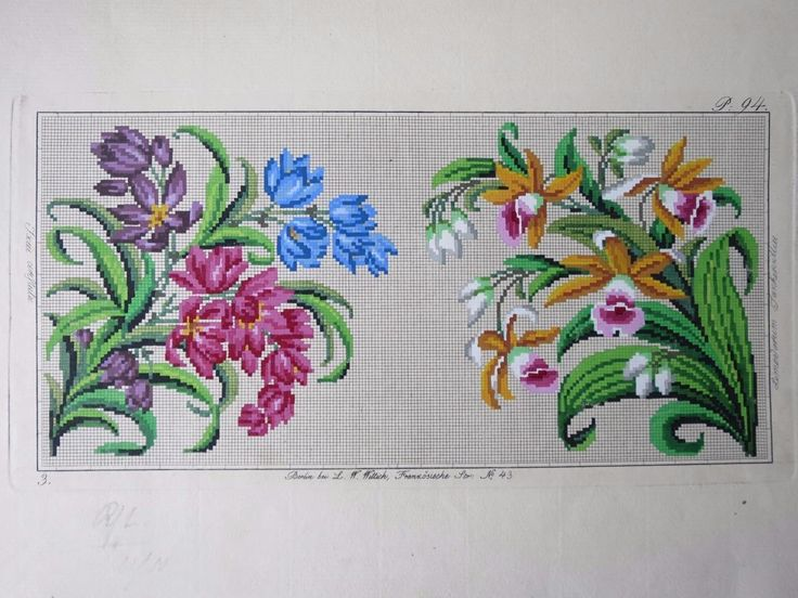 Antique Hand Painted Berlin Woolwork Embroidery Chart- L.W. Wittich | eBay
