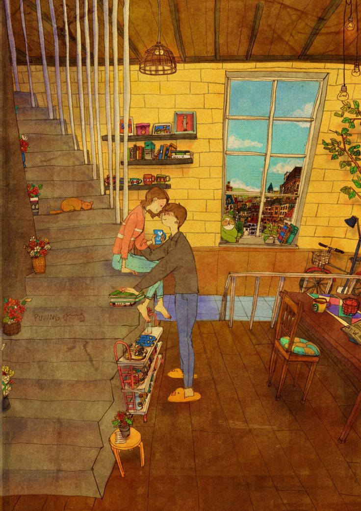 On the Stairs. Love Is series by Korean artist 퍼엉(Puuung)