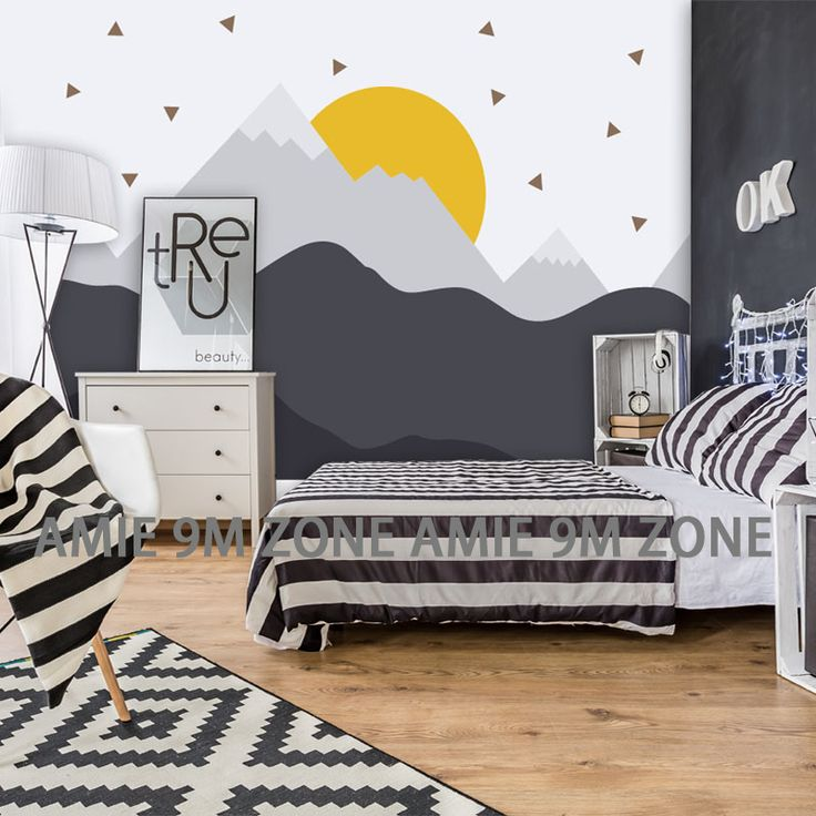 Cartoon Mountains and sun illustration art mural wallpaper for kid's bed room wall decor wallpapers for nursuery room discount-in Wallpapers from Home Improvement on Aliexpress.com | Alibaba Group
