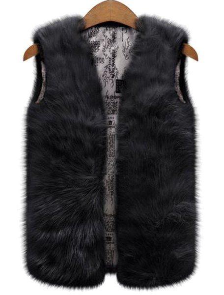 Pure Color Faux Fur Fashionable V-Neck Waistcoat For Women