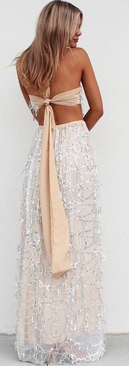 #summer #musthave #outfits | Silver Embellished Nude Maxi Dress