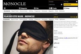 flouzen x Monocle cashmere eye mask collab in Monocle issue