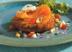 It is not a Break the fast with out some smoked salmong - Smoked Coho Salmon on Idaho® Baked Potato Cake
