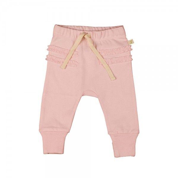 Organic Cotton Harrem Pants - Soft Pink with Ruffle waist