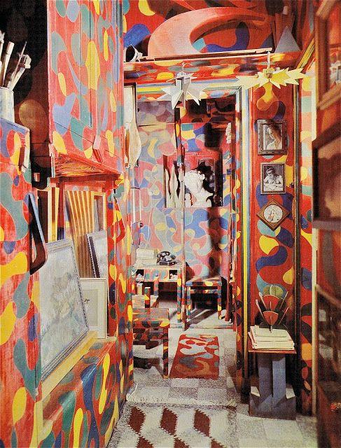 """Art meets home Giacomo Balla """"Interior of the house at Via Nicola Porpora in Rome."""" 1914"""