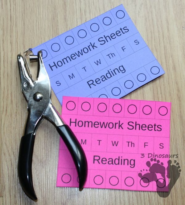 Managing Homework Ideas & Free Homework Punch Cards & Free Desk Help for Third Grade - 3Dinosaurs.com