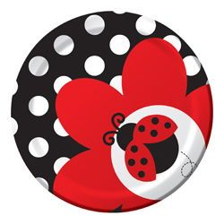 "Ladybug Paper Dessert Plates - 7"""