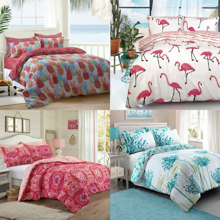 New Modern Duvet Cover Set with Pillow Cases Polycotton Bedding Sets