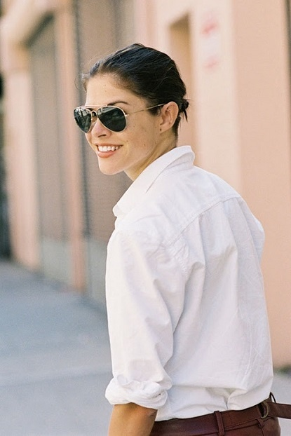 Crisp white shirt with rolled up sleeves